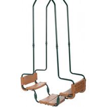 duoschommel staal/kunststof 250 - 270 cm groen/bruin