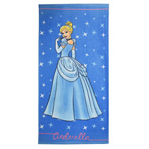 badlaken Assepoester Princess 70 x 140 cm katoen blauw
