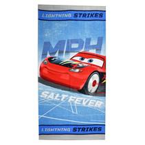 strandlaken Cars junior 70 x 140 cm katoen blauw/zilver