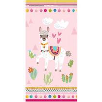 strandlaken Lama junior 150 x 75 cm katoen roze