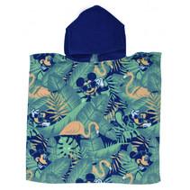 badponcho Mickey junior 50 x 100 cm katoen blauw/groen