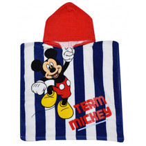 badponcho Mickey junior 50 x 100 cm katoen rood/wit