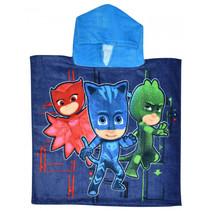 badponcho PJ Masks junior 100 cm katoen lichtblauw/blauw