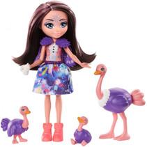 tienerpop Ofelia Ostrich meisjes 15 cm paars/roze