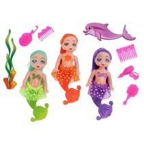 zeemeerminnenset meisjes 11,5 cm groen/oranje/paars