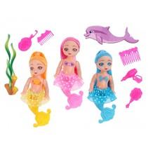 zeemeerminnenset meisjes 11,5 cm geel/roze/blauw