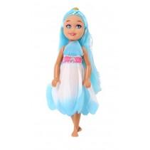 pop Bloemenmeisje blauw 15 cm