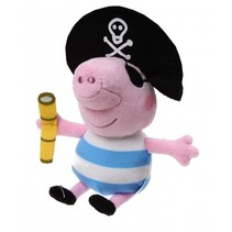 knuffel Peppa Pig piraat roze/blauw/wit 17 cm