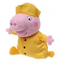 knuffel Peppa Pig schipper roze/geel 17 cm