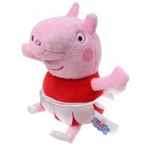 knuffel Peppa Pig danseres roze/rood 17 cm