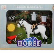 paardenspeelset 12 x 10 cm wit 6-delig