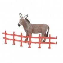 boerderijdier met hek 8 cm ezel