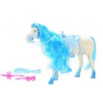 paard blauw met accessoires 29 cm