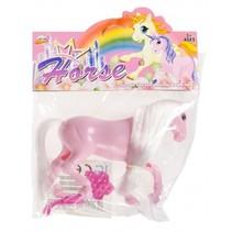 paard 11 cm roze 2-delig