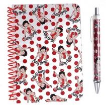 notitieboek met pen Betty Boop wit/rood 2-delig
