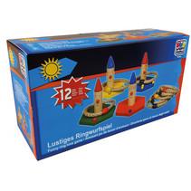 ringwerpspel junior 12 x 13 cm hout 12-delig