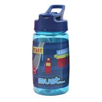 drinkfles Race jongens 450 ml blauw/transparant