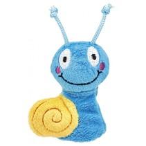 vingerpop Krabbelkäfer slak 9,5 cm blauw/geel