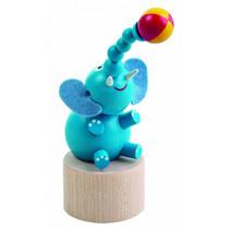 speelfiguur olifant junior 50 x 170 mm hout blauw/bruin