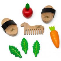 houten speelgoed Paardenverzorgingsset 10 cm bruin