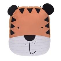 knuffelkussen tijger 39 x25 cm bruin/zwart/wit