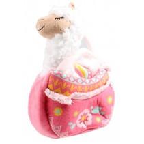 knuffel Lola lama met handtas meisjes 24 cm wit/roze