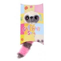 knuffel in geschenkverpakking Get Well 9 cm roze