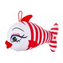 knuffelvis met lus 24 cm rood