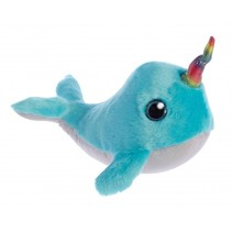 knuffel Sparkle Tales narwal Coral 18 cm blauw