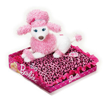 knuffelpoedel kussen junior 30 x 30 cm pluche wit/roze