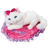 knuffelkat op kussen junior 23 x 30 cm pluche wit/roze