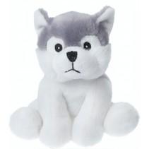 knuffelhond 14 cm wit