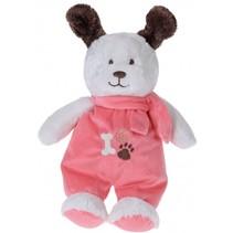 knuffelhond met kleren en sjaal 27 cm wit/roze
