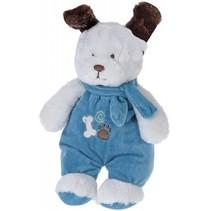knuffelhond met kleren en sjaal 27 cm wit/blauw