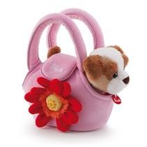 Knuffelhond in tas 20 cm roze