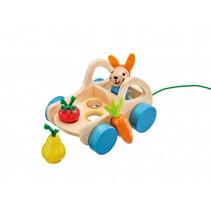 groentewagen junior 17,5 cm hout blank/blauw 5-delig