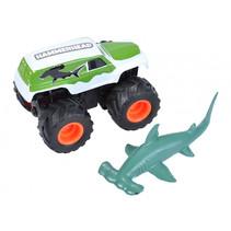 speelset truck en haai junior blauw/wit 2-delig