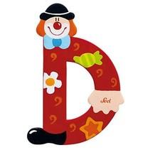 Letter D Clown 10 cm rood