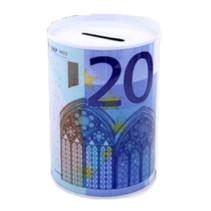 spaarpot 20 euro 12 x 8,5 cm aluminium wit/blauw