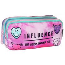 etui Influence meisjes 21 x 9 cm polyester roze/blauw