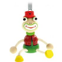 speelfiguur kikker junior 19 cm hout groen/rood