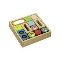 Blokkendoos hout met spiegel belletjes multicolor 18 cm