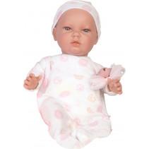 babypop Dani meisjes 45 cm vinyl/textiel wit/roze