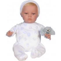 babypop Dani meisjes 45 cm vinyl/textiel wit/blauw