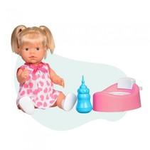 interactieve babypop met flesje en potje 40 cm meisjes roze