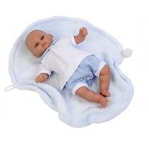 babypop Mark 30 cm met deken blauw