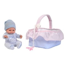 babypop in mand 28 cm roze/blauw
