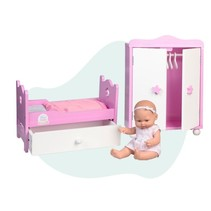 babypop met houten bed en kledingkast 28 cm roze