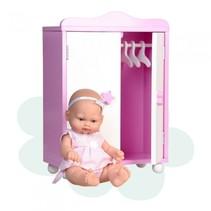 babypop Mini Baby met houten kledingkast 28 cm roze