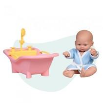 babypop Mini Baby met badkuip 28 cm roze